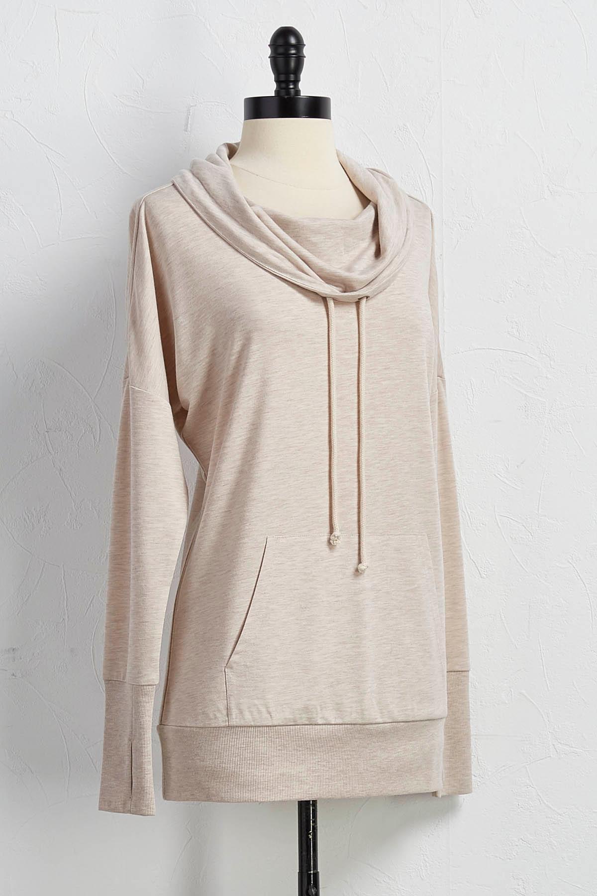 Draped Drawstring Neck Sweatshirt