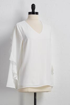 crepe ruffle v-neck top