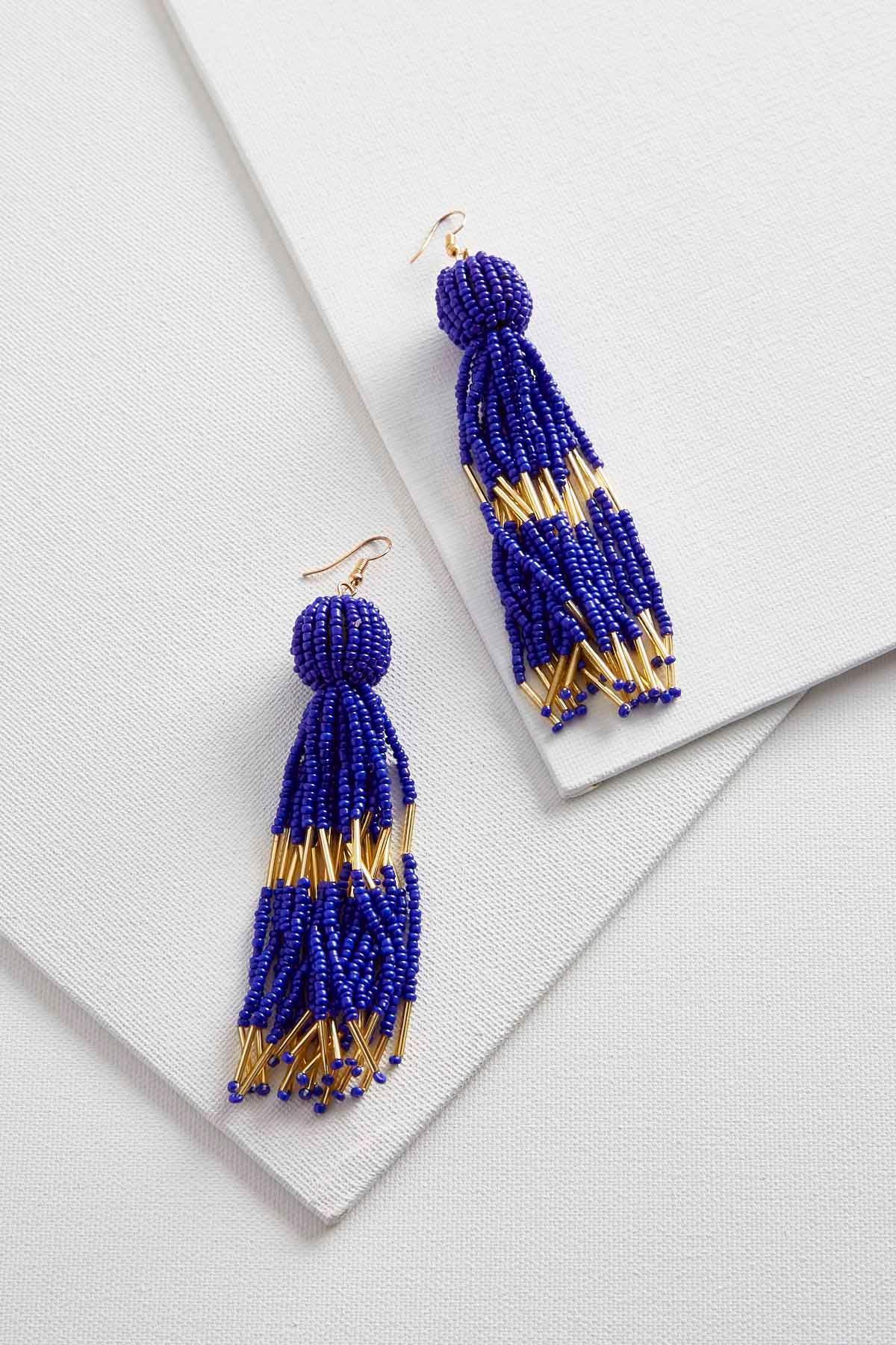 versona seed bead tassel earrings