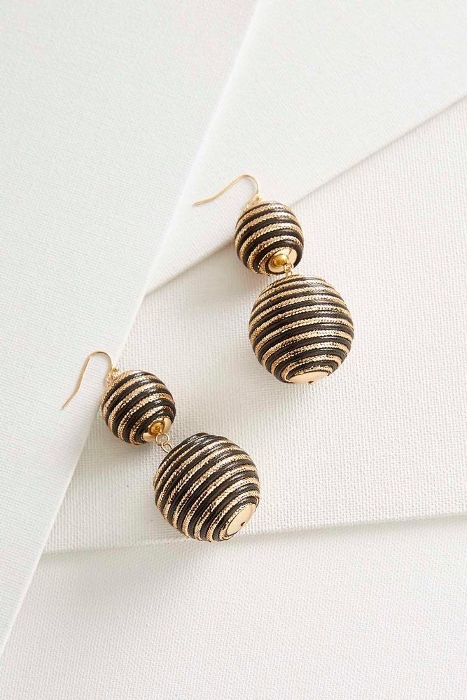 Metallic Striped Ball Dangle Earrings