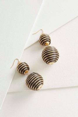 metallic striped ball dangle earrings s