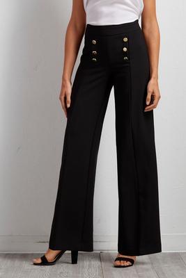 buttoned wide leg pants