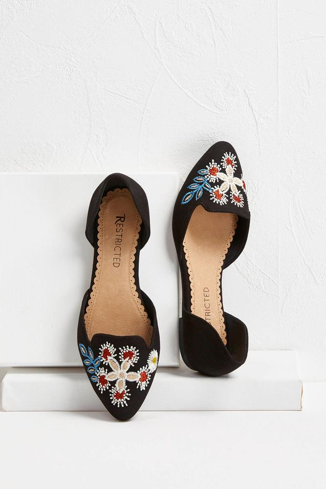 Floral Embroidered Flats