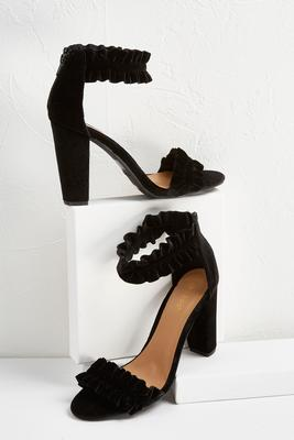 ruffled ankle strap heels