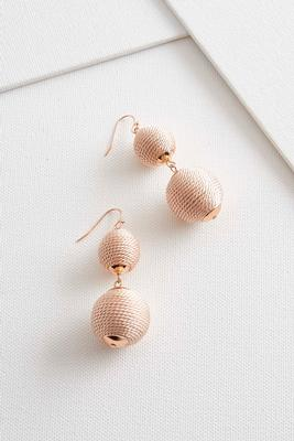 thread wrapped ball dangle earrings