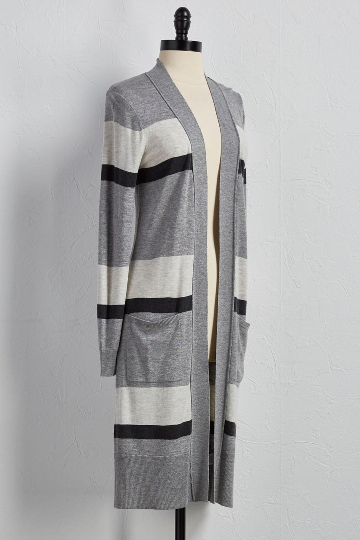 Wide Striped Duster Cardigan