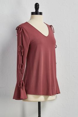 tie cutout sleeve top