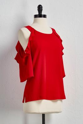 bare shoulder ruffle top