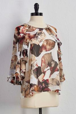 ruffled sleeve leaf top