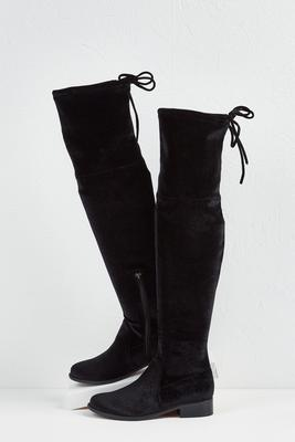 velvet over the knee boots