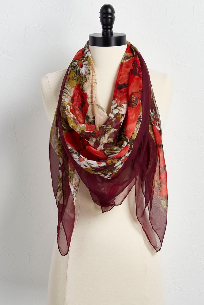 versona chiffon floral square scarf