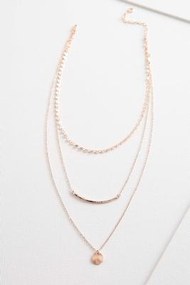 dainty texture tiered metal necklace