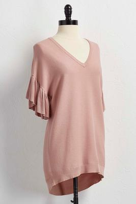ruffled sleeve sweater tunic