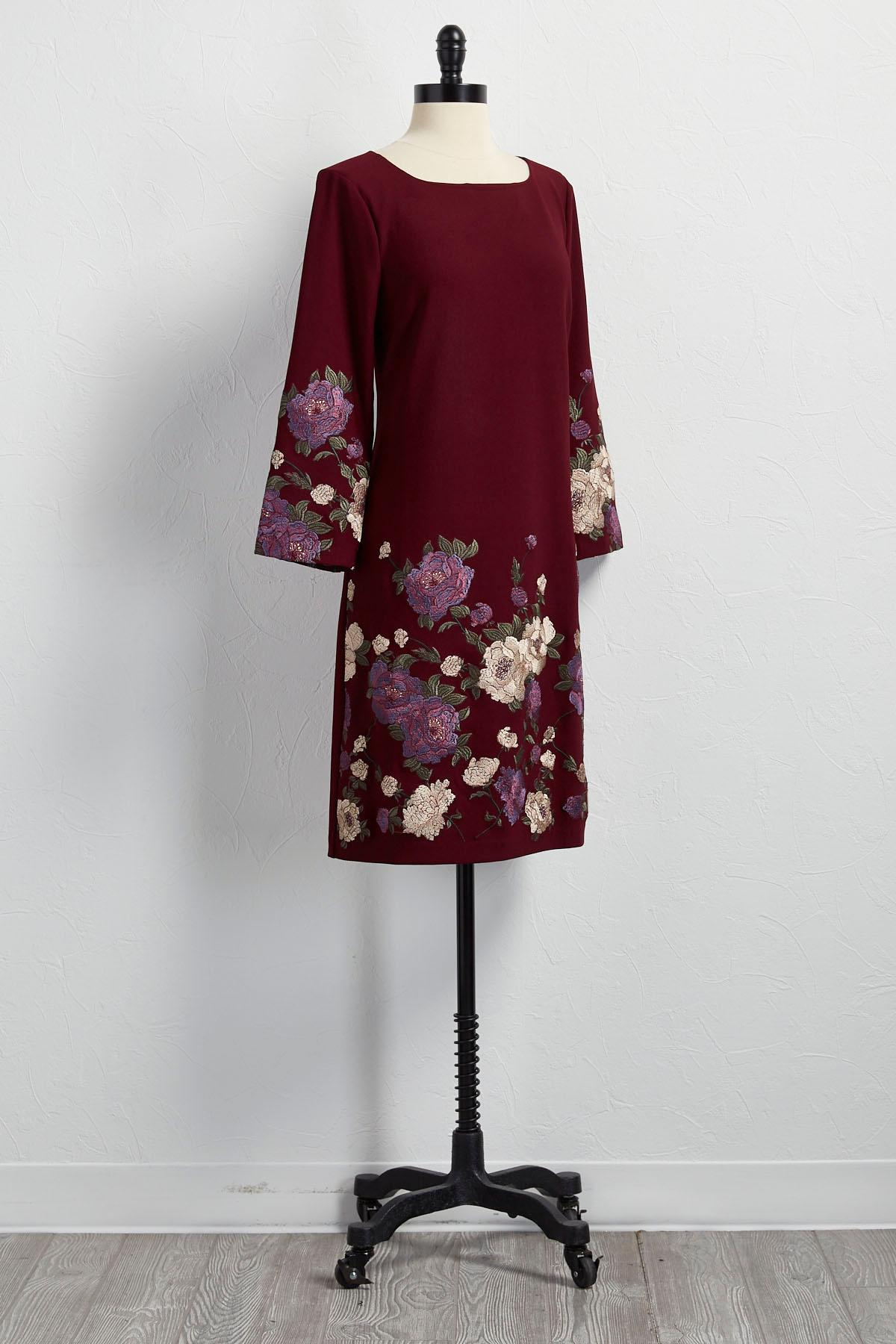 Versona rose embroidered bell sleeve shift dress