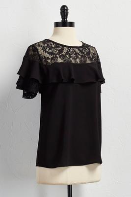 lace ruffled sleeve top