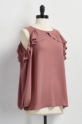 ruffled bare shoulder top