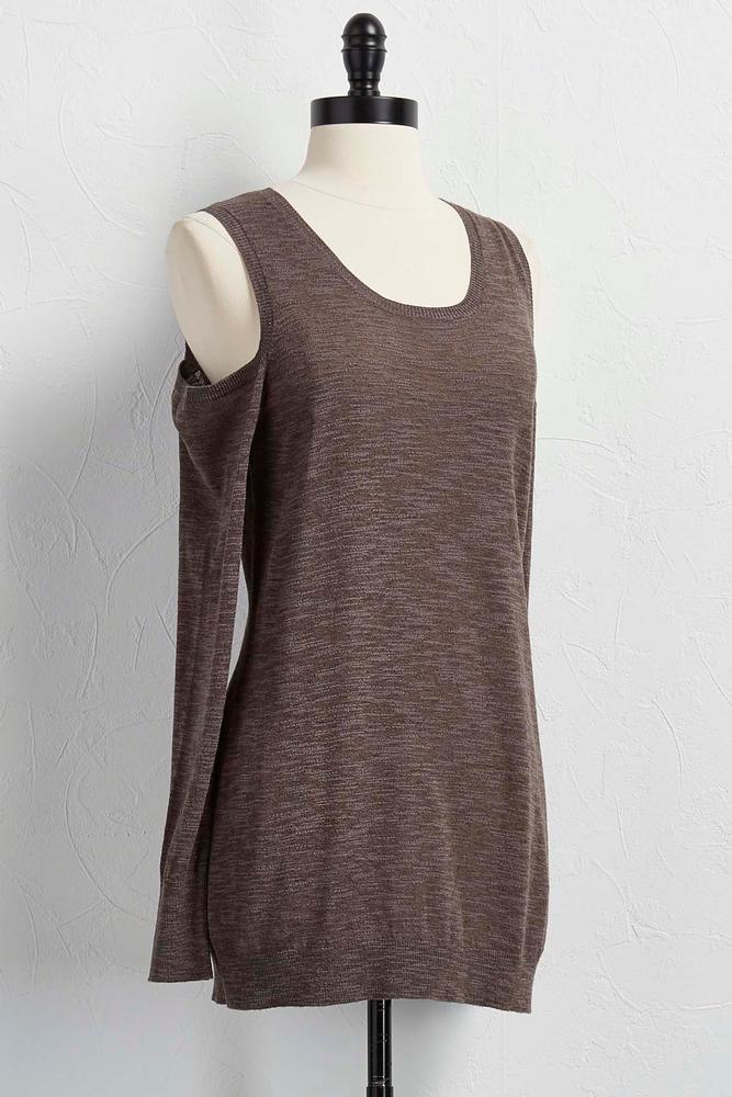 Marled Bare Shoulder Sweater