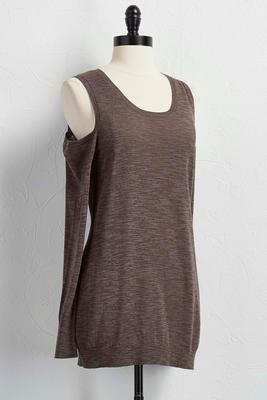 marled bare shoulder sweater