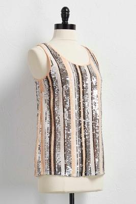 blush sequin striped tank