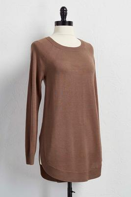 shirttail hem tunic sweater