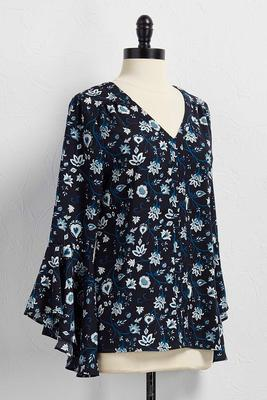 viney floral bell sleeve top