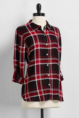 red plaid boyfriend shirt