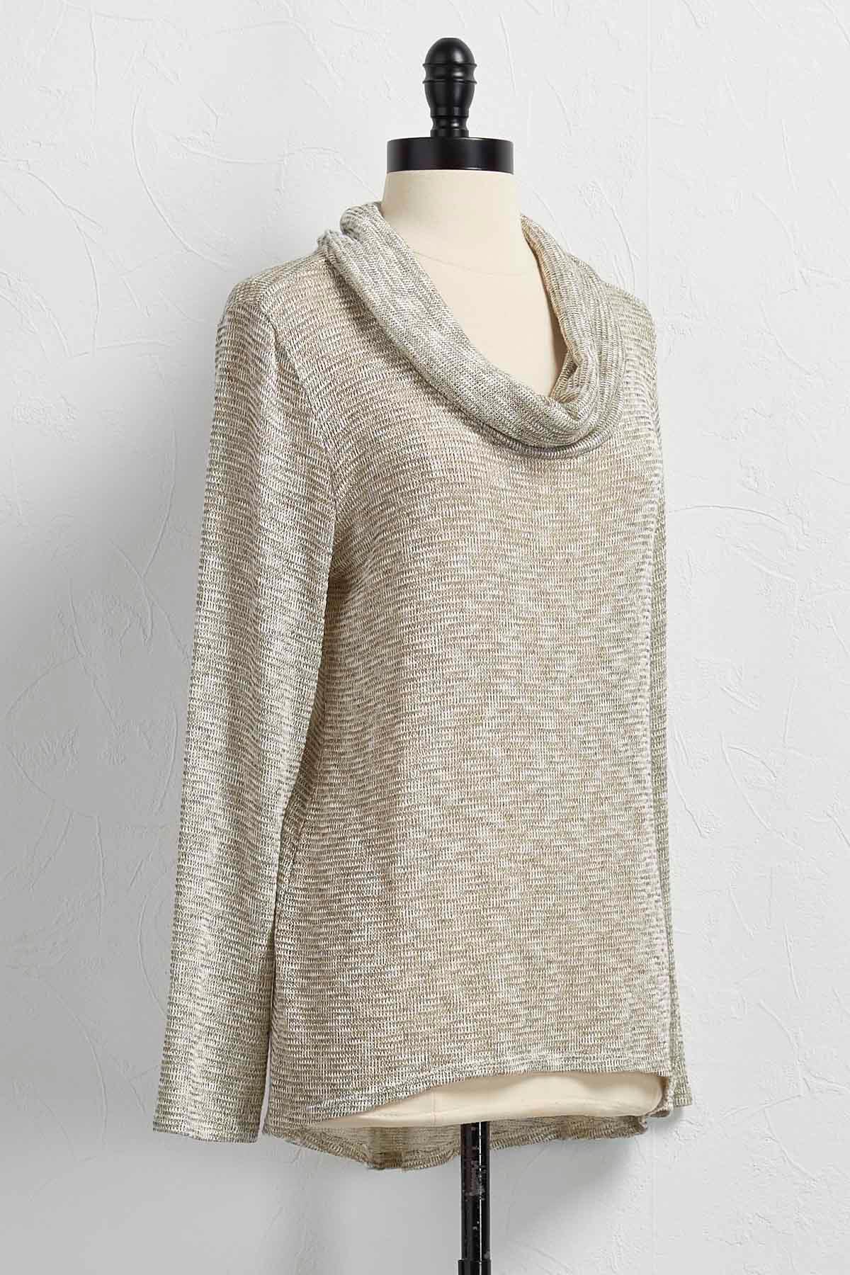 Draped Cowl Neck Pullover