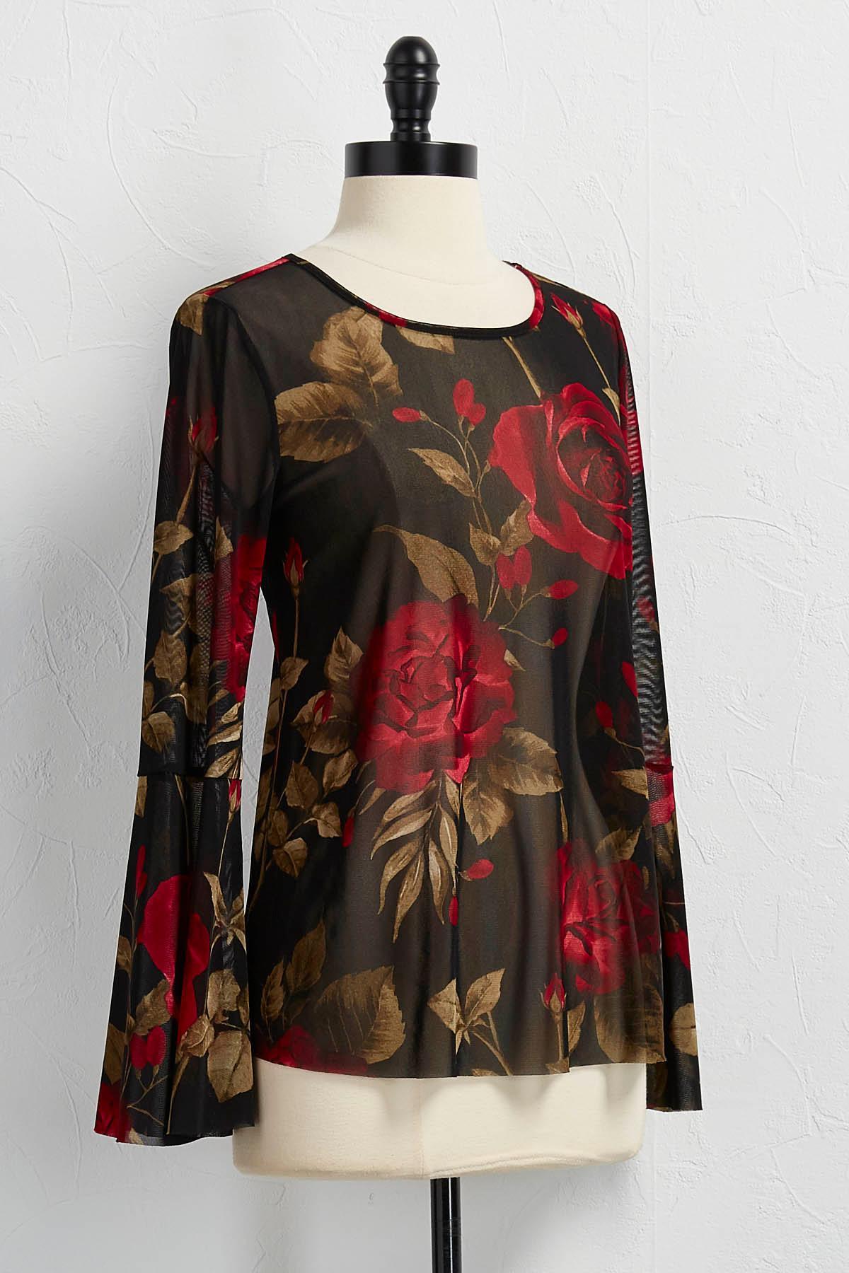 Rose Flare Sleeve Mesh Top
