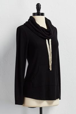 cowl neck hacci pullover