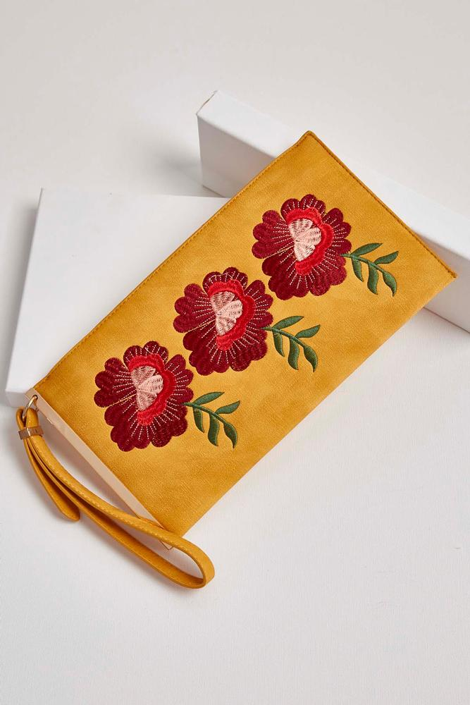 floral embroidered wristlet s