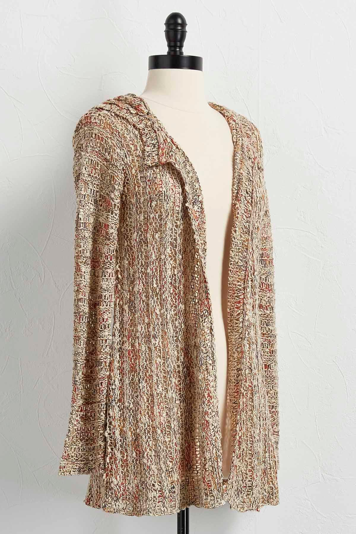Hooded Marbled Cardigan