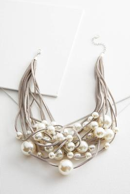 faux suede clustered pearl necklace