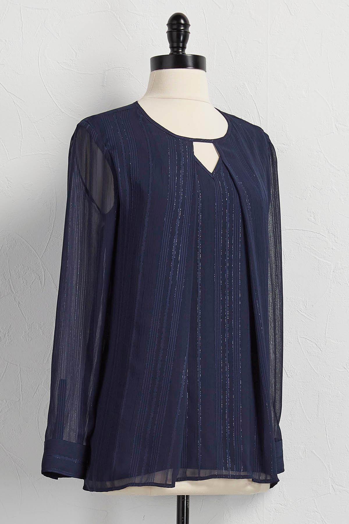 Inverted- Pleat Shimmer Stripe Top
