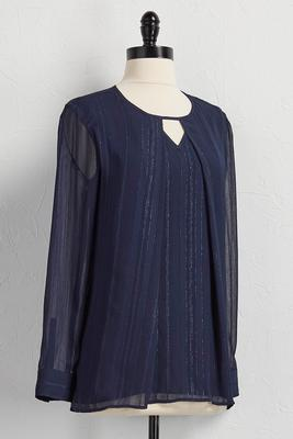 inverted-pleat shimmer stripe top