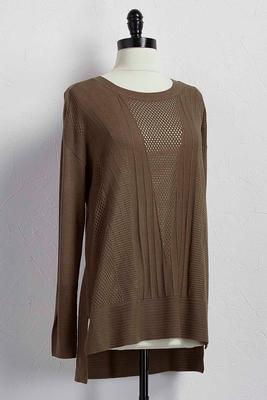 pointelle stitch tunic sweater