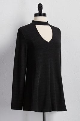 mock cutout neck tunic