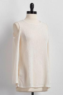 textured bare shoulder top