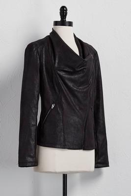 drapey faux leather jacket