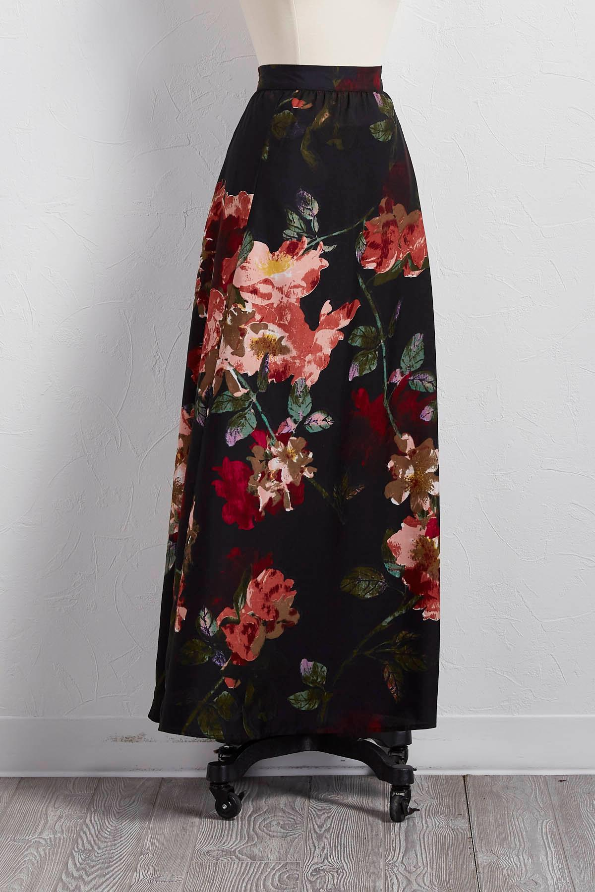 Floral Pull- On Maxi Skirt
