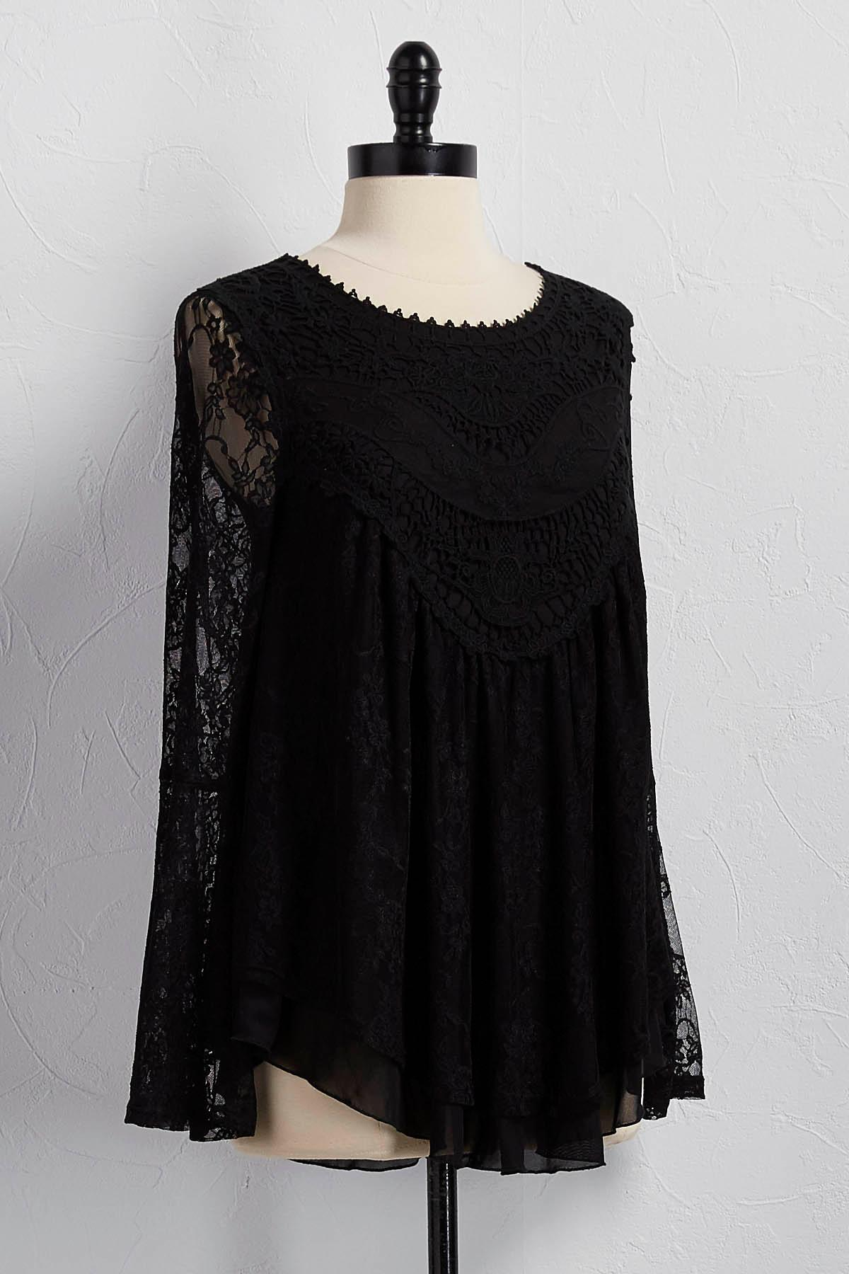Lace Embroidered Bell Sleeve Top