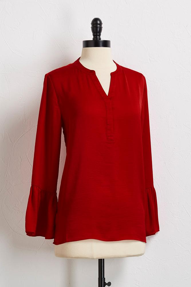 Hammered Satin Bell Sleeve Top