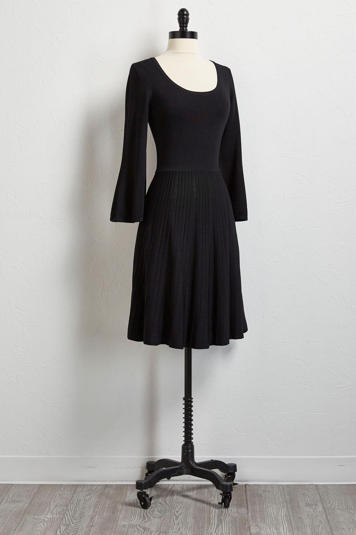 Pleated Flare Sleeve Dress