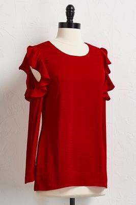 satin ruffled bare shoulder top