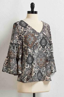 tiered bell sleeve paisley top