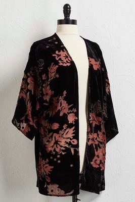floral burnout velvet kimono