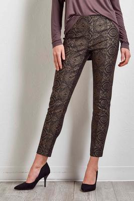metallic foiled ankle pants