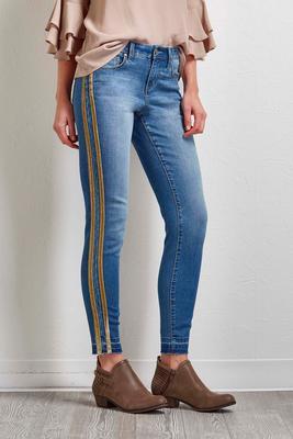 velvet trim ankle jeans
