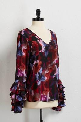 vibrant floral ruffle sleeve top