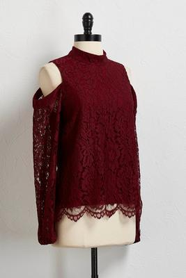 lace bare shoulder mock neck top