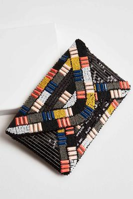 mixed embellished clutch